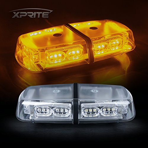 Xprite Gen 3 Amber Yellow 36 LED 18 Watts Hign Sincerity Law Enforcement Emergency Hazard Warning LED Mini Bar Strobe Light with Magnetic Base
