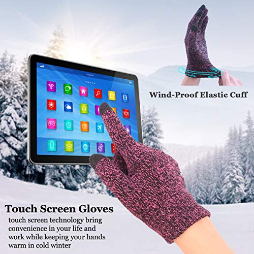 achiou-winter-touchscreen-gloves-warm-for-women-men-knit-wool-lined-texting-rose-red