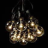 100 Foot LED Warm White Outdoor Globe Patio String Lights - Set of 100 LED G40 Clear 1.5 Inch Bulbs with Black Cord
