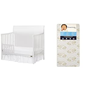 Dream On Me Bailey 5-In-1 Convertible Crib with Dream On Me Spring Crib and Toddler Bed Mattress, Twilight