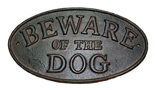 Starworld- Wall Mount Cast Iron Antique Style BEWARE OF THE DOG Oval Plaque Sign Rustic Ranch Wall Decor Kennel Garden Decor - Rust Brown Finish