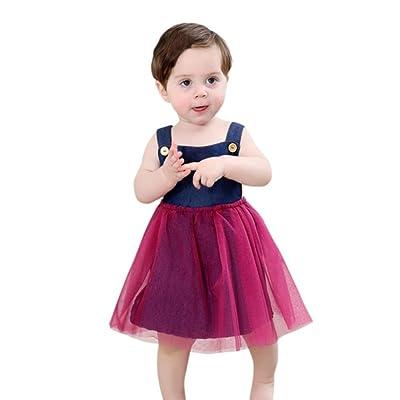 fd0682d372d Sunbona Infant Little Baby Girls Princess Cute Sleeveless Overalls T Shirt  Dress Clothes Outfit Set