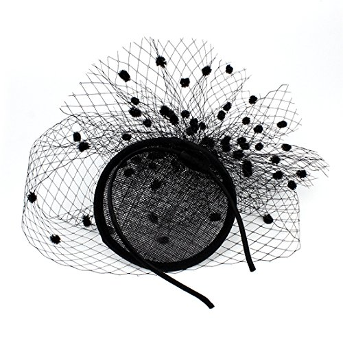 Sinamay Feather Fascinators Womens Pillbox Flower Derby Hat for Cocktail Ball Wedding Church Tea Party (Black - Black Cocktail Flower