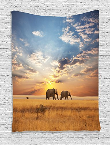 Ambesonne Safari Decor Collection, Tow Elephants African Distinct Species Sun Rays Untouched Land Fall Scene Picture , Bedroom Living Room Dorm Wall Hanging Tapestry, Blue Ivory (The Room Scene)