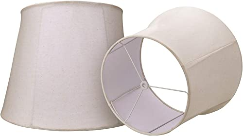 Double Royal Style Medium Lamp Shade Set of 2, Alucset Fabric Lampshade for Table Light, Spider, 2Pcs Pack, Foldable Design Off White, 10 14 11 inch