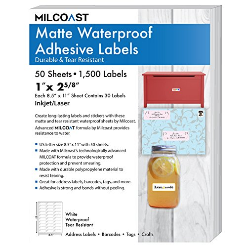 Milcoast Matte Waterproof Tear Resistant Address Labels 1' x 2 5/8' for Inkjet / Laser Printers 1500 Labels - 50 Sheets