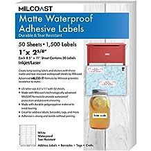 """Milcoast Matte Waterproof Tear Resistant Address Labels 1"""" x 2 5/8"""" for Inkjet / Laser Printers 1500 Labels - 50 Sheets"""