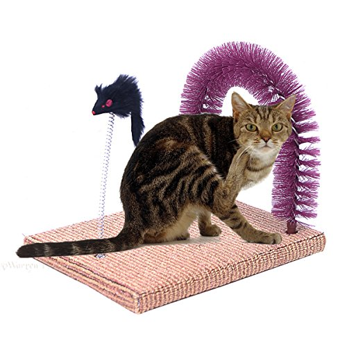 Evalan Cat Scratching Post Arch Self Groomer and Massage Durable Bristles with Mouse Moving Cats Toy