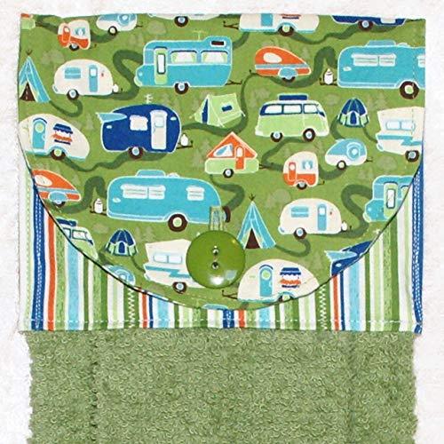 Hanging Hand Towel - Kitchen or Bath - Retro Camping Trailers - RV Camping Decor - Green Plush Towel ()
