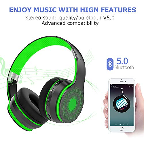 LOBKIN Cuffie Bluetooth 5.0 Senza Fili, Cuffie Over Ear Pieghevole Auricolari con Mic, Lettore MP3, Radio FM, Wireless e Cuffie Cablate, Cuffie Over Ear Verde