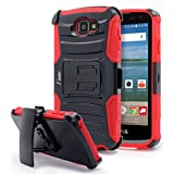 LG Optimus Zone 3 Case, Rebel LTE / Spree / K4 Case, NageBee [Heavy Duty] Armor Shock Proof Dual Layer [Swivel Belt Clip] Holster with [Kickstand] Combo Rugged Case (Red)