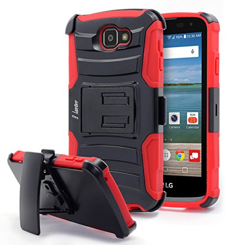 LG K4 Case, Rebel LTE / Spree / Optimus Zone 3 Case, NageBee [Heavy Duty] Armor Shock Proof Dual Layer [Swivel Belt Clip] Holster with [Kickstand] Combo Rugged Case - Red (Outter Box For A Lg Optimus)