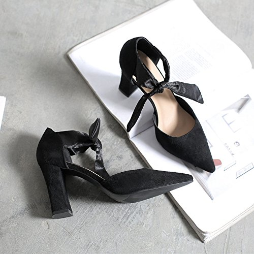 Bold punto 34 salvaje Baotou tacón solo sujeción zapatos y de Negro hueco zapatos sandalias de ASqHr4wA