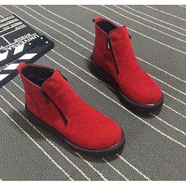 Botas de mujer Primavera Confort Casual PU rubor rosa verde del Ejército Rojo Amarillo Negro Gray