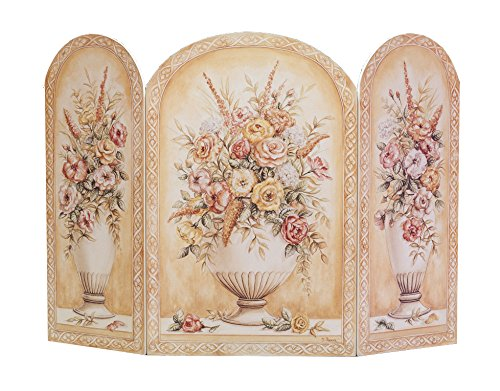 Wood Fireplace Screen - Stupell Home Décor Floral Arrangement In White Vase 3-Panel Decorative Fireplace Screen, 44 x 0.5 x 31, Proudly Made in USA
