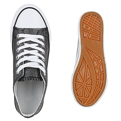 b54fd231005e ... Stiefelparadies Glitzer Damen Sneakers Sneaker Low Metallic Schnürer  Denim Flats Turnschuhe Sportschuhe Flandell Schwarz Silber