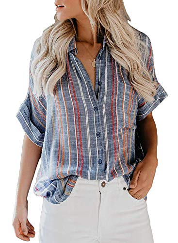 Boutique Clothing For Women, Misyula Miss Formal Tops Plus Size Cotton Short Sleeve Henley Shirts Button Down Chic Summer Casual Office Blouses Gorgeous Boho Simple Dating Tunic With Jeans Blue XXL