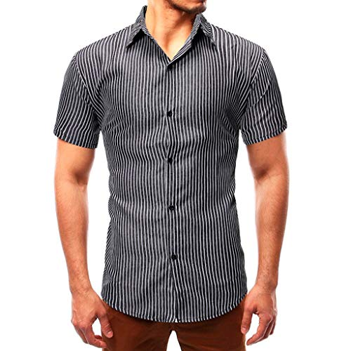 YOcheerful Men's Summer Tops Slim Casual Striped Button Up Short-Sleeved Shirts Loose Tops Daily Blouses(Black, 2XL) ()