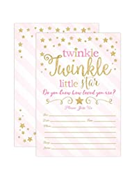 Twinkle Twinkle Little Star Baby Shower Invitations, Pink and Gold Twinkle Twinkle Little Star Girl Baby Shower Invites, 20 Fill in Style With Envelopes BOBEBE Online Baby Store From New York to Miami and Los Angeles