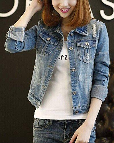 PengGeng Casual Di Oversize Giacchetto Azzurro Jeans Manica Cappotto Chiaro Donna Lunga Zrq5UZ