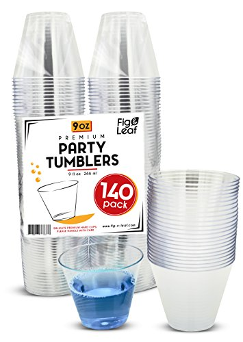 (140 Pack) Premium Hard Plastic 9 OZ Party Cups l Old Fashioned Tumblers 9-Ounce l Crystal Clear Sturdy Disposable Tumbler Glasses Reusable Durable Cup l Top Choice for Catering Wedding Birthday Event