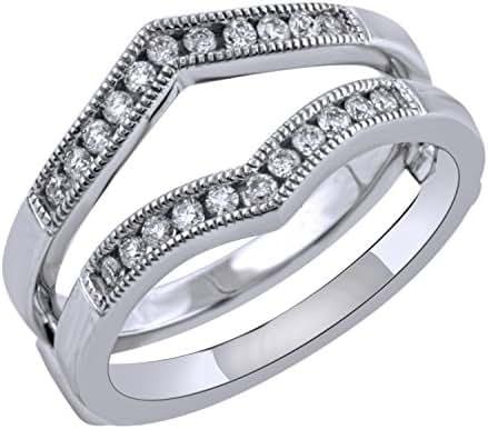 Women's 0.26 carat total weight Diamond Guard Ring in 10K White Gold