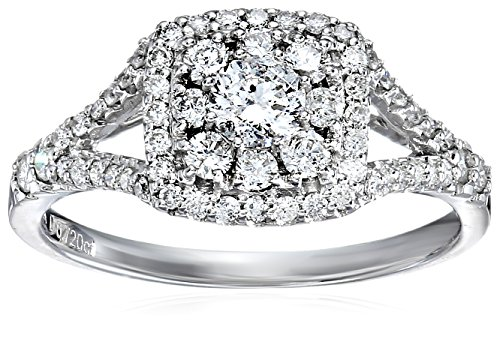ELLE Bridal Diamond Rhodium Plated 14k White Gold Square Double Halo Engagement Ring (3/4 cttw, I-J, I1-I2), Size 6