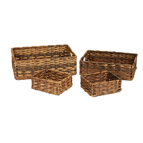 Seville Classics Handwoven Nesting Storage Basket 4-Piece Assortment, Mocha
