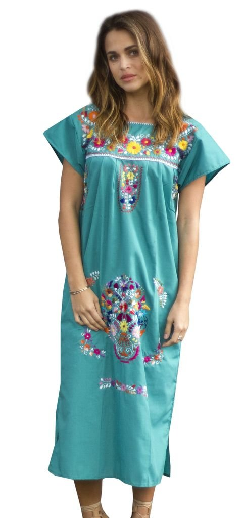 Women's Embroidered Mexican Teal Mid-Calf Peasant Dress - DeluxeAdultCostumes.com