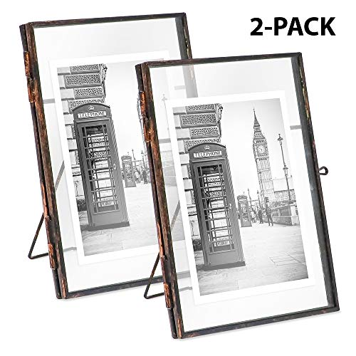 Bronze Antique Shelf - Isaac Jacobs Brass and Glass Floating Frame with Sliding Locket Closure (4x6 (2-Pack), Antique Bronze)