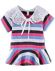 ZHMEI Vestidos niña Fiesta | Niños pequeños Bebés Niñas Raya con Volantes de Encaje Impreso Tops Vestidos de Princesa Trajes 0-4 años