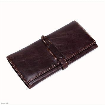 Primera Capa De Cuero Bolsa De Embrague Hombre Y Mujer Larga Billetera Vintage Cuero Multi-Tarjeta De Posición De Tarjeta De Paquete: Amazon.es: Hogar