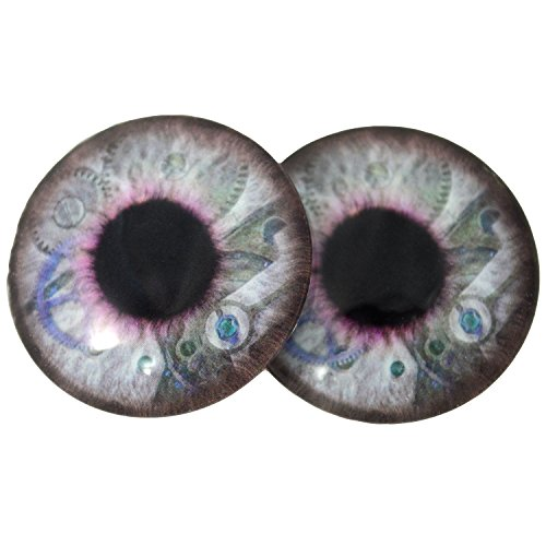 Big 40mm Steampunk Glass Eyes in Blue and Purple with Clockwork Details Iris Crafting Supply Flatback Cabochons for Art Doll Taxidermy or Jewelry Making by Megan's Beaded Designs