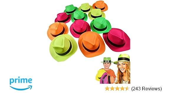 c2779382d62 Amazon.com  Neon Plastic Gangster Hats - 24 Pack - Dress Up Party Favor -  Assorted Colors  Toys   Games