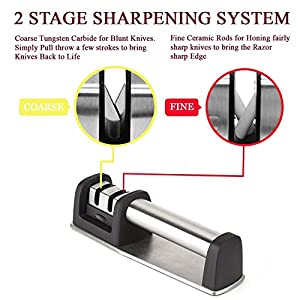 Professional Knife Sharpener for Straight And Serrated Knives, 2 Stage Diamond Coated And Ceramic Sharpening Wheel System, Sharpens Dull Knives Quickly
