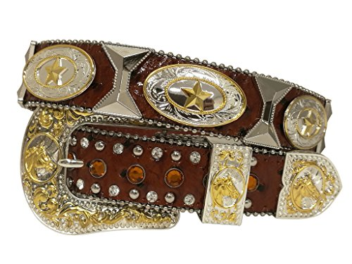 - New Mens Western Cowboy Cowgirl Texas Star Silver Tie Concho Longhorn Shiny Leather Belt