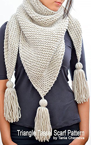 Triangle Tassel Scarf Pattern Womens Scarf Knitting Pattern Triangle