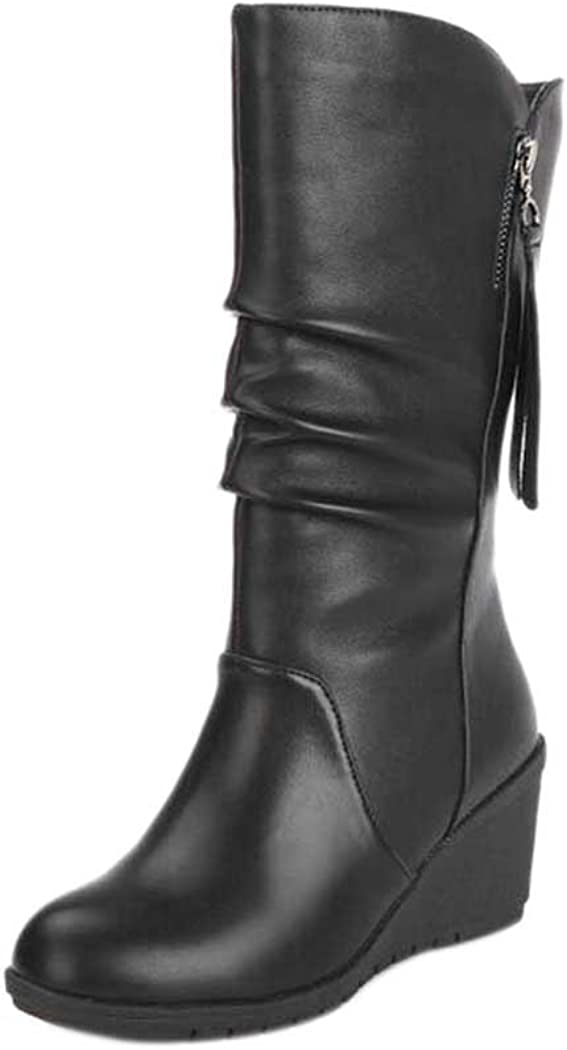 High Tube Flat Riding Boots InKach Womens Winter Snow Boots Mid Calf Slouchy Boot Shoes