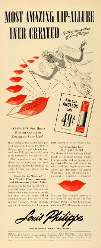 1942-ad-louis-philippe-cosmetics-lipstick-angelus-beauty-makeup-rouge-price-wwii-original-print-ad