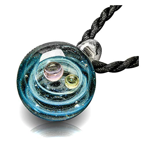 Glass Pendant - Top Plaza Fashion Glass Necklace Jewelry Universe Galaxy Nebula Space Cosmos Glass Ball Pendant Unique Special Birthday Christams Gift for Womens Girls #1