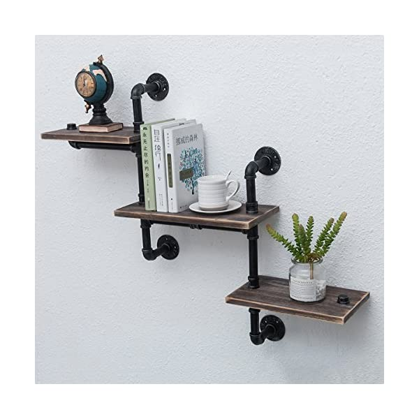 Industrial Bookshelf Pipe Shelves 3 Tiers,Rustic Wood Shelf Wall Mounted,Metal Corner Hung Bracket Shelving Floating… 5
