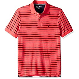 Men's Classic Fit Short Sleeve Striped Polo Shirt