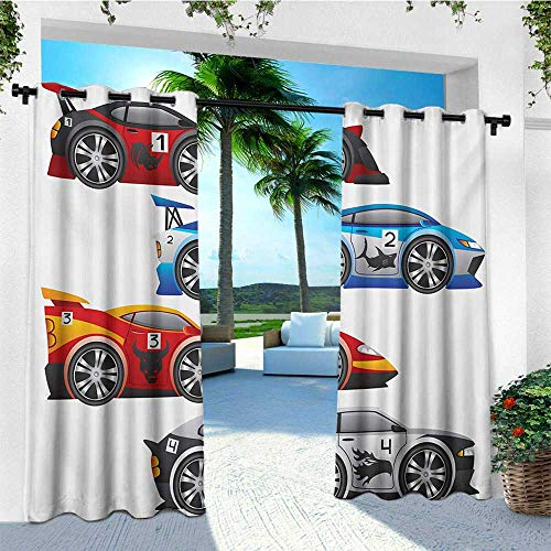 leinuoyi Cars, Outdoor Patio Curtains, Collection of Formula Race Cars Modern Mechanical Technology Automotive Championship, for Pergola W84 x L108 Inch Multicolor