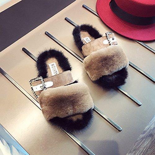 Tide Fankou Women's Shoes Automne Hiver Mode Forage De L'eau Pour Les Chaussures Marron Épais Et Foncés, 35,