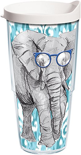 Tervis 1137502 Funky Animals Collection Elephant with Frames Insulated Tumbler with Wrap and White Lid, 24oz, Clear by Tervis