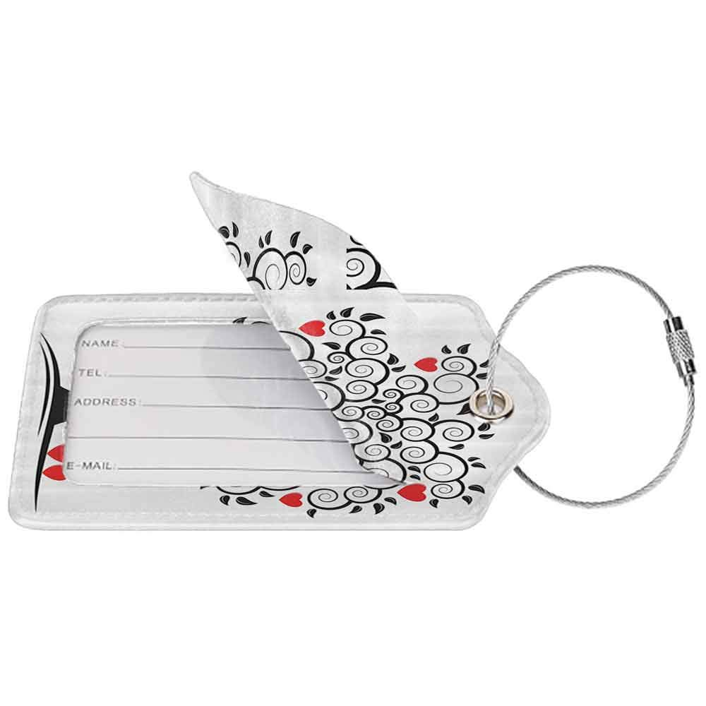 Multi-patterned luggage tag Love Decor Collection Abstract Heart Tree Floral Leaves Spring Swirl Simplicity Creative Illustration Image Double-sided printing Black White Red W2.7 x L4.6