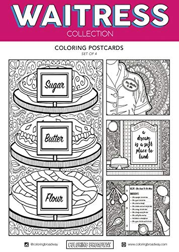 Waitress Coloring Postcards - Hand-drawn illustrations by Coloring Broadway. Printed on matte card stock. (5 x 7 - Set of 4)