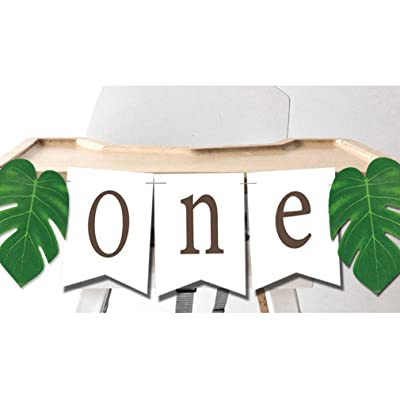ONE Banner with Tropical Palm Leaves High Chair Decoration for Jungle Safari Lion King Dinosaur Wild ONE Party: Toys & Games