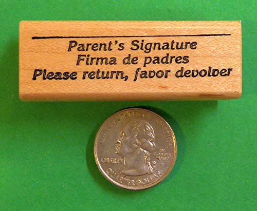 OutletBestSelling Firma de Padres/Parent Signature, Bilingual Teacher's Wood Mounted Rubber Stamp