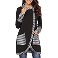 Fastyletop Womens Striped Asymmetric Striped Cowl Neck Tunic Top with Pockets Jacket Outwear